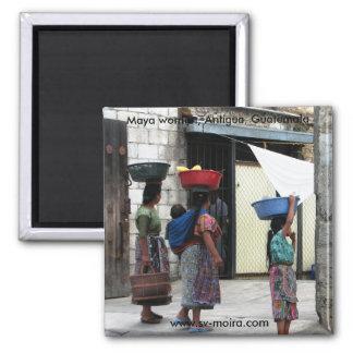 Maya women, Antigua, Guatemala Square Magnet