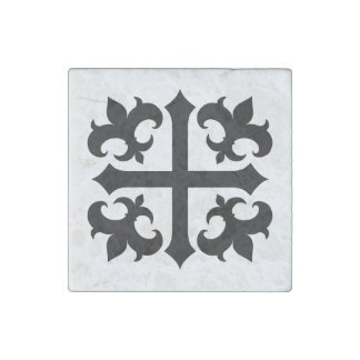 Medieval cross and fleur de lis symbols stone magnets