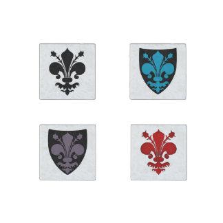 Medieval Fleur de lis symbols Stone Magnets