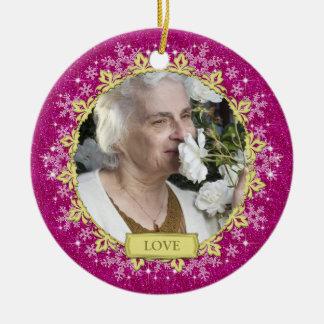 Memorial Photo Pink Snowflakes Christmas Round Ceramic Ornament