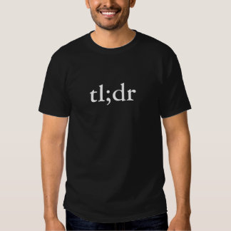 Men's black tl;dr too long didn't read shirts