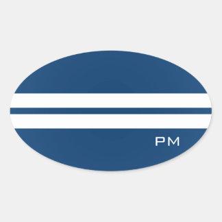 Mens White Racing Stripes Midnight Blue Oval Sticker