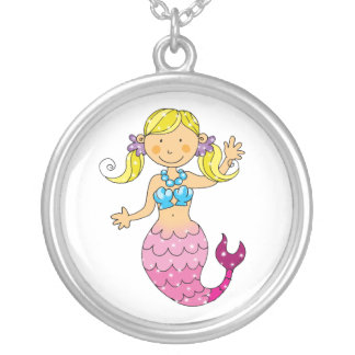 mermaid princess round pendant necklace