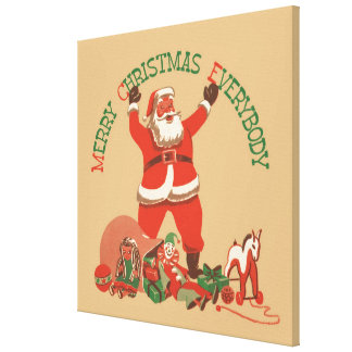 Merry Christmas Everybody! Vintage Santa Claus Stretched Canvas Prints