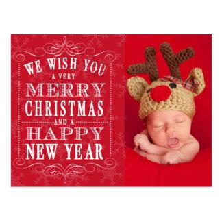 Merry Christmas, Happy New Year Photo Postcard
