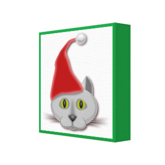 """MERRY CHRISTMAS"" SANTA CAT CANVAS PRINT"