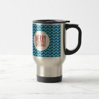 Merry Christmas Seamless Pattern Blue Texture 15 Oz Stainless Steel Travel Mug