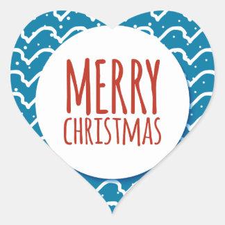 Merry Christmas Seamless Pattern Blue Texture Heart Sticker