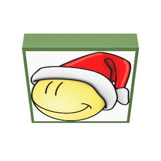 """""""MERRY CHRISTMAS"""" SMILEY FACE SANTA GALLERY WRAP CANVAS"""