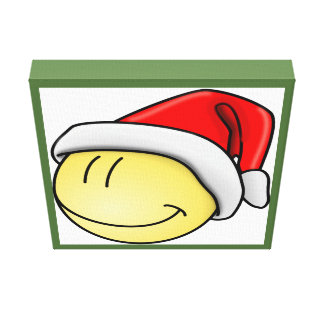 """""""MERRY CHRISTMAS"""" SMILEY FACE SANTA GALLERY WRAPPED CANVAS"""