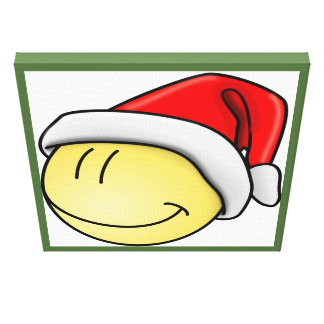 """""""MERRY CHRISTMAS"""" SMILEY FACE SANTA STRETCHED CANVAS PRINT"""
