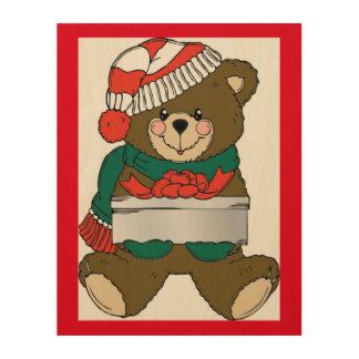 """""""MERRY CHRISTMAS"""" TEDDY BEAR WOOD PRINT"""