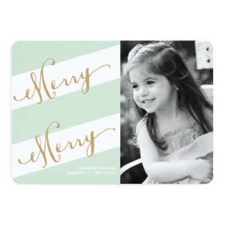 """Merry Merry - Holiday Photo Greeting Card 5"""" X 7"""" Invitation Card"""