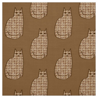Mid-Century Modern Cat, Beige and Light Brown Fabric