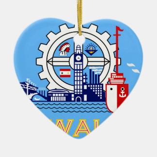 Milwaukee, Wisconsin, United States flag Ceramic Heart Ornament