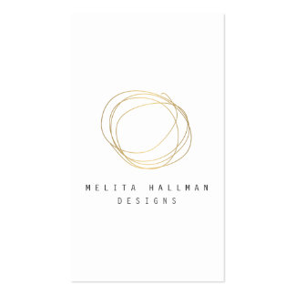 Minimal and Modern Designer Scribble Logo in Gold Business Card
