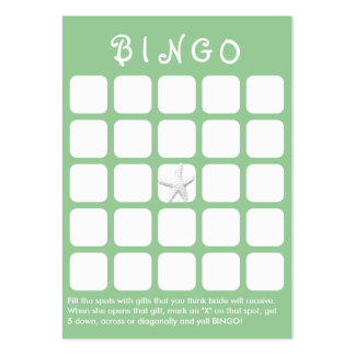Mint Green Star Fish 5x5 Bridal Shower Bingo Card Large Business Card
