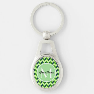 Mint Monogram Green Chevron Patchwork Pattern Silver-Colored Oval Keychain