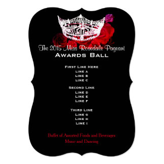 """Miss America style Crown & Roses Awards Ball 5"""" X 7"""" Invitation Card"""