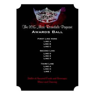 "Miss America style Crown & Roses Awards Ball/Invtn 5"" X 7"" Invitation Card"