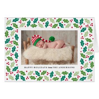 Mistletoe Folded Holiday Greeting Photo Card