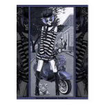 Misty Mod Moped Scooter Urban Tiger Fairy Postcard