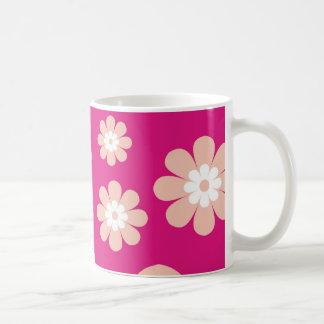 Mod Peach Flowers On Pink Classic White Coffee Mug