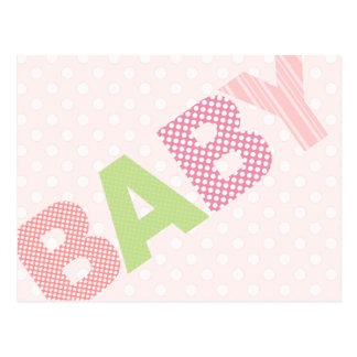 Modern Baby Shower Advice Card Bold in Pink Postcard