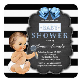 "Modern Black Stripe Boys Chalkboard Baby Shower 5.25"" Square Invitation Card"