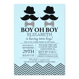 "Modern Boy Little Man Mustache TWINS Baby Shower 5"" X 7"" Invitation Card"
