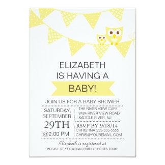 "Modern Bunting Owl Gender Neutral Baby Shower 5"" X 7"" Invitation Card"