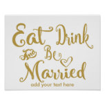 Modern Calligraphy Eat drink & be married print