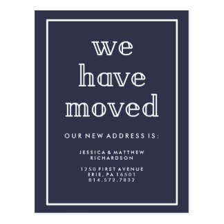 Modern Classic Navy Blue   We Have Moved Postcard