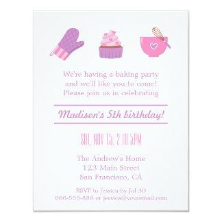 "Modern Cupcake Purple Pink Baking Birthday Party 4.25"" X 5.5"" Invitation Card"