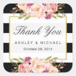 Modern Floral Decor Black White Stripes Thank You Square Sticker
