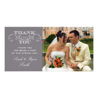Modern Gray Wedding Photo Thank You Cards Customized Photo Card
