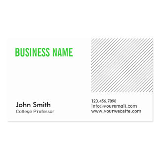 Modern Green Title Professor Business Card