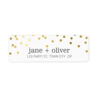 MODERN LABEL cute mini confetti spots gold foil Return Address Label