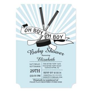 """Modern Oh Boy Hockey Boys Baby Shower 5"""" X 7"""" Invitation Card"""