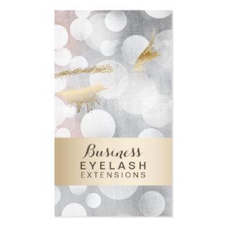 Modern Silver & Gold Eyelash Extensions Business Card