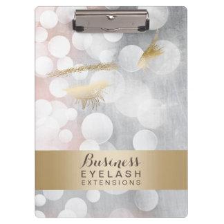 Modern Silver & Gold Eyelash Extensions Clipboard