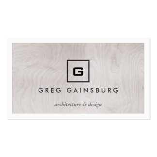 MODERN & SIMPLE BOX LOGO on GRAY WOODGRAIN Business Card