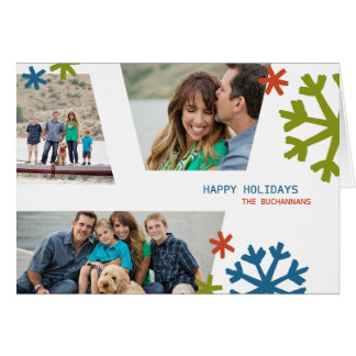 Modern Snowflakes Non-Traditional Holiday Folded Note Card