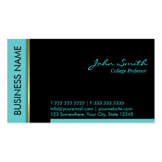 Modern Teal Border Professor Business Card
