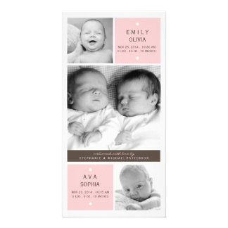 Modern Twin Girls Photo Baby Birth Announcement Photo Card