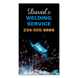 Modern Welding Service and Metal Fabrication Photo Business Card Magnet
