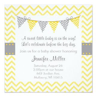 Modern Yellow Chevron Baby Shower Invitations