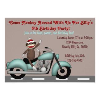 """Monkey Around Motorcycle Birthday 5"""" X 7"""" Invitation Card"""