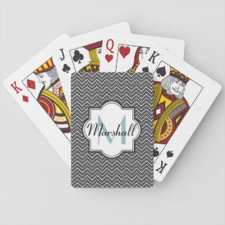 Monogram Aqua and Black Chevron Card Deck