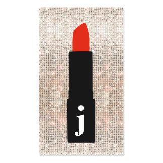 Monogram Beauty Sequin Cute Makeup Artist Lipstick Business Card